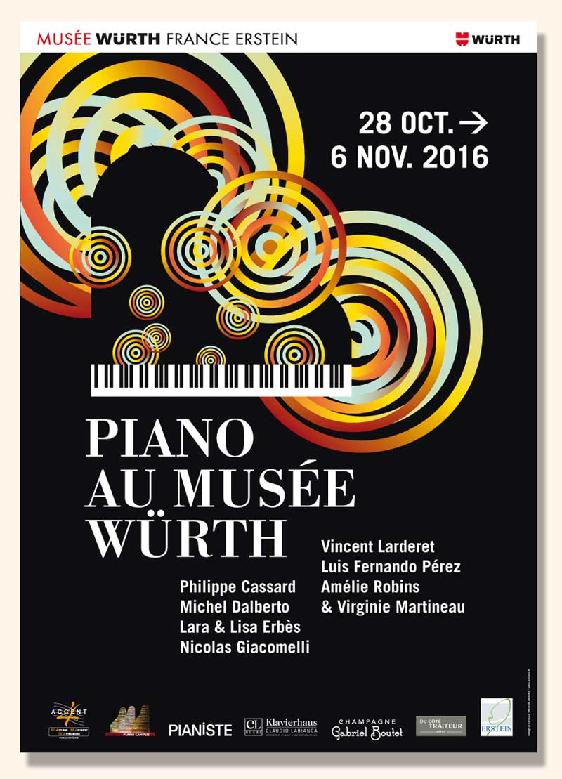 Affiche du Festival international <i>Piano au Musée Würth</i> 2016.