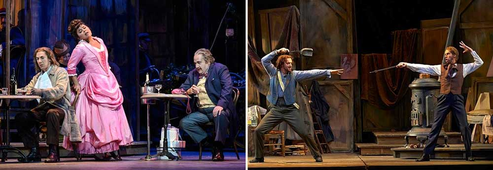 Phillip Addis interprète Marcello et Schaunar dans <i>La Bohème</i> en 2013 avec la Canadian Opera Company. À gauche : Phillip Addis (Marcello), Simone Osborne (Musetta) et Thomas Hammons (Alcindoro).  Photo Chris Hutcheson - À droite : Christian Van Horn (Colline) et Phillip Addis (Schaunard).  Photo Michael Cooper