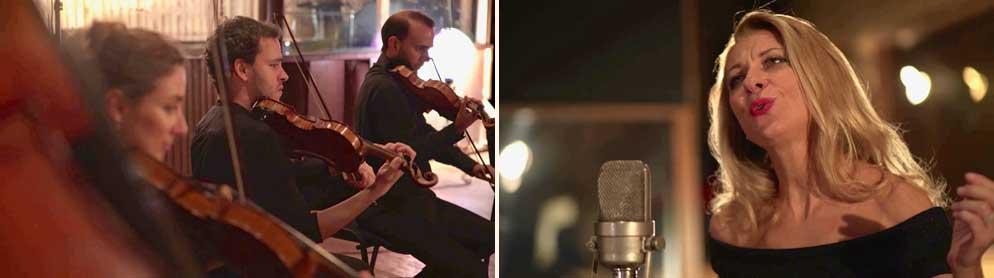 Natalie Dessay et des musiciens du Paris Mozart Orchestra pendant l'enregistrement de <i>Pictures of America</i> au Studio  Ferber en septembre  2016.  © Tutti-magazine
