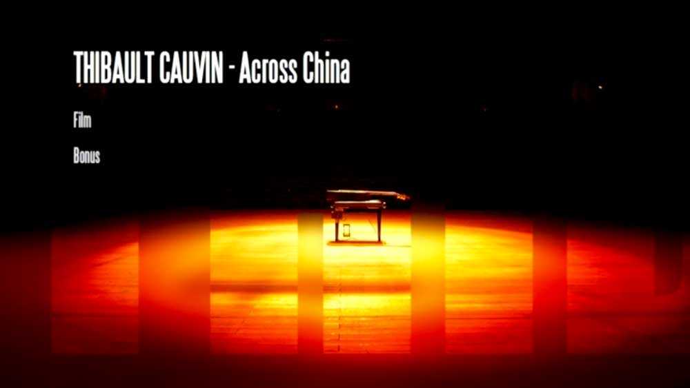 Menu du DVD <i>Thibault Cauvin's Across China</i>.