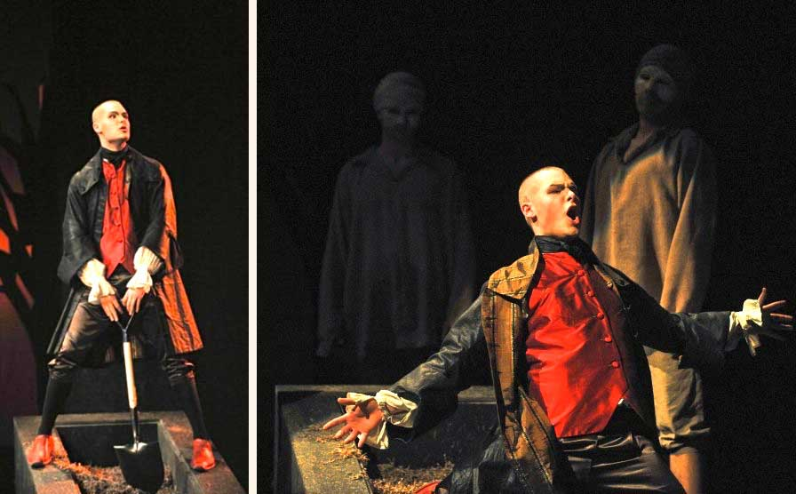 Philippe Sly (Nick Shadow) de <i>The Rake's Progress</i> à Opera McGill en 2010.  © Opera McGill